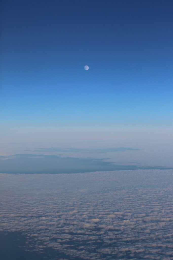 Sky view and the moon from Paris to Hong Kong